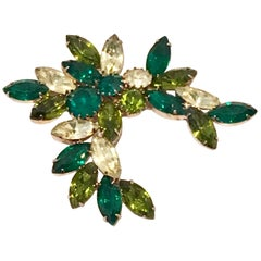Mid-20th Century Gold & Crystal Abstract Floral Brooch