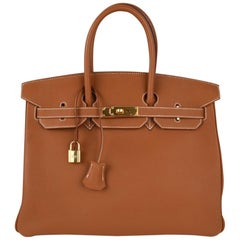 Hermes Birkin 35 Bag Gold Togo Gold Hrdw new