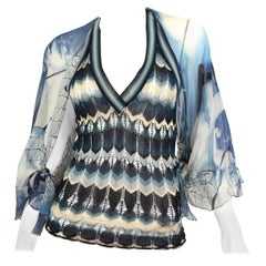 Jean Paul Gaultier Fuzzi Knit with Chiffon Blouse