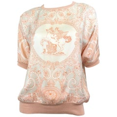 Hermes Silk Dolman Blouse with Equestrian Print