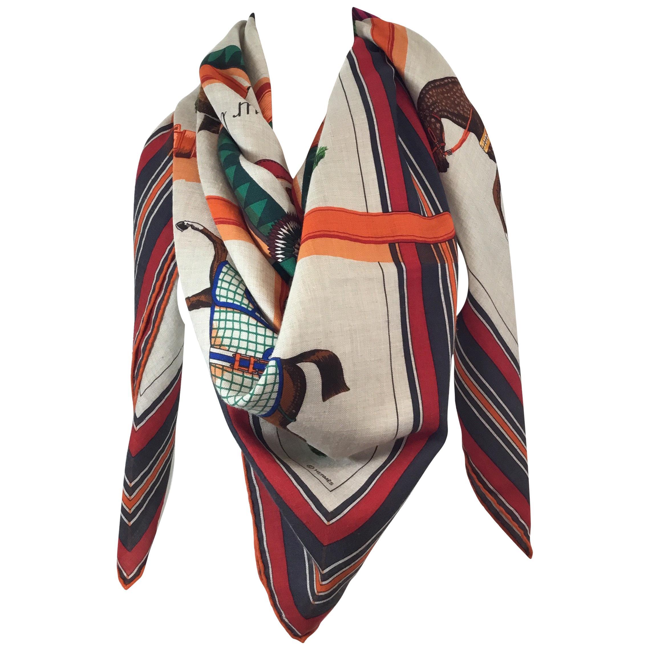 6a5e375aff563 Hermes Couvertures et Tenues de Jour Shawl in Cashmere/Silk at 1stdibs