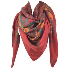 Hermes Paisley Print Cashmere and Silk Large Shawl