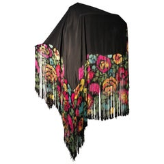 1920s Hand Painted Silk Art Deco Fringed Shawl Made In France