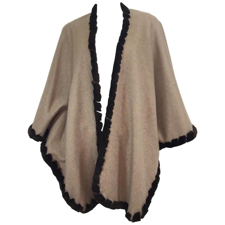 Loro Piana Cashmere Cape with Sheared Mink Fur Trim For Sale