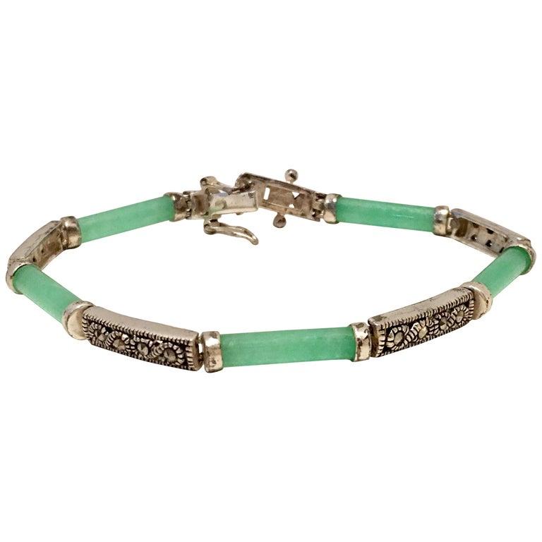20th Century 925 Sterling Jadeite & Marcasite Link Bracelet For Sale