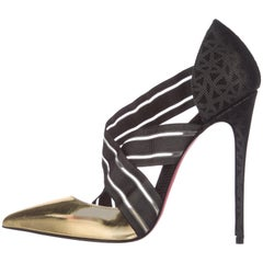Christian Louboutin NEW Black Gold Silver Evening Cut Out Pumps Heels