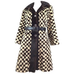 Saks Fifth Avenue Vintage Checkered Mink Fur Coat
