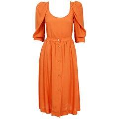 1978 Yves Saint Laurent Orange Linen Puff-Sleeve Blouse & Button Down Skirt Set