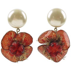 Cilea Paris Signed Floral Dangling Resin Talosel Clip-on Earrings