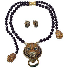 Heidi Daus Animal Magic Tiger Demi Parure Beaded Necklace and Clip on Earrings