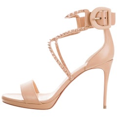 Christian Louboutin NEW Nude Leather Silver Spike Evening Sandals Heels