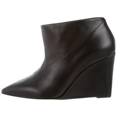 Hermes NEW Black Leather Pointy Heels Ankle Booties Boots in Box