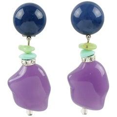 Angela Caputi Blue and Lavender Dangling Resin Clip On Earrings