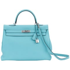 Hermes Rare Kelly 35 Retourne Blue Atoll Bag