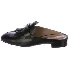 Hermes NEW Sold Out Black Leather Silver H Buckle Women's Slides