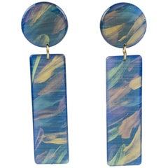 Italian Studio Dangling Lucite Pierced Earrings Turquoise Marble Long Stick