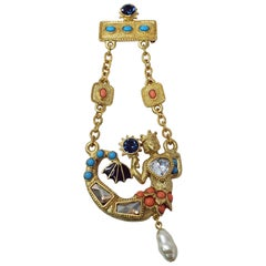 KJL Kenneth Jay Lane Mermaid Brooch in Gold Crystals Enamel Collector's Piece