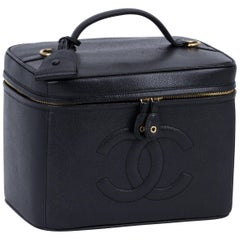 1980's Vintage Chanel Black Caviar Beauty Case Bag