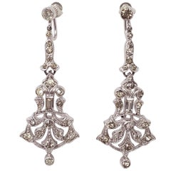 Antique Victorian Art Nouveau Rhodium Plated Crystal Dangling Screwback Earrings