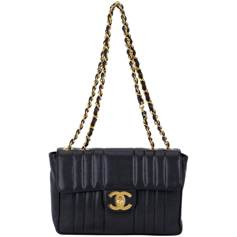 b8f4abc64c55 Chanel Black Caviar Vertical Jumbo Flap at 1stdibs
