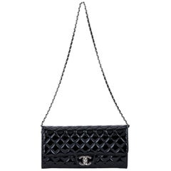 Chanel Black Patent 2 Way Pouchette Bag