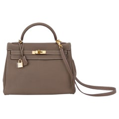 a66d719b9a3 Hermes Kelly 32 Togo Etoupe Gold Mint Bag. Hermes NEW Limited Edition ...