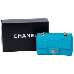 Chanel Silk Croc Embossed Turquoise Flap Bag