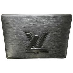 Vintage Louis Vuitton black epi trapezoid mod style clutch bag.  Trapeze purse.