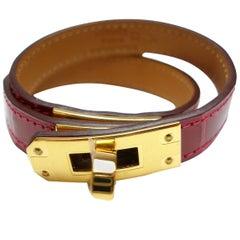 Intemporel Hermès Kelly Bracelet Double Tour Alligator Rouge Braise Size 2 /NEW