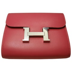Hermès Constance Compact Wallet Rose Lipstick and H Palladium / NEW WITH DEFECT