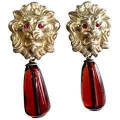 Vintage Bottega Veneta lion head and brown teardrop glass dangle earrings. Rare.