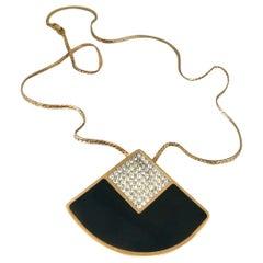 Givenchy 70s Vintage Large Black Crystal Geometric Pendant Necklace.