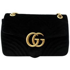 Gucci Black Velvet Marmont Bag