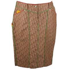Christian Dior Beige Monogram Rasta Skirt with Leather Trim Size 42