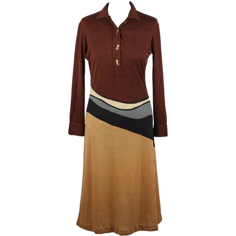 a63ea0e6560e06 Braunes langärmeliges Vintage Kleid von Roberta Di Camerino, Größe 46 1