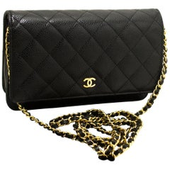 CHANEL Caviar WOC Wallet On Chain Black Shoulder Crossbody Bag