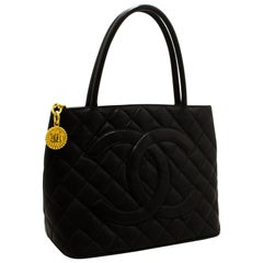 CHANEL Gold Medallion Caviar Shoulder Shopping Tote Bag Black