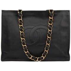 1994 Chanel Black Lambskin Vintage Jumbo XL Timeless Shopping Tote