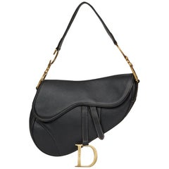 2001 Christian Dior Black Calfskin Leather Saddle Bag
