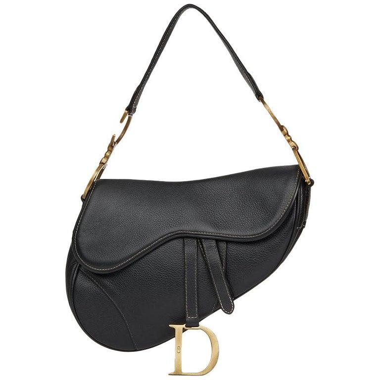 2001 Christian Dior Black Calfskin Leather Saddle Bag