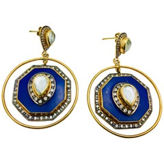 Meghna Jewels Faux Lapis Hexagon Cubic Zircon Earrings