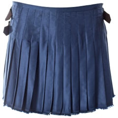 Vivienne Westwood, blue satin pleated wrap mini skirt / kilt, AW 2003