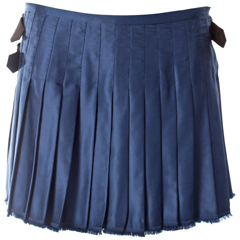 32b4f262f Vivienne Westwood, blue satin pleated wrap mini skirt / kilt, AW 2003 For  Sale