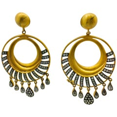MEGHNA JEWELS Hand Finished Matte Gold Hoop Earrings