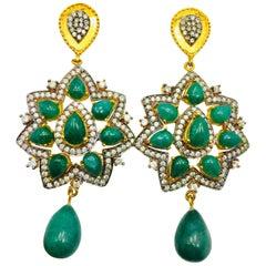 Meghna Jewels Ahalei Earrings Green Quartz Cubic Zircon - As seen in Gossip girl