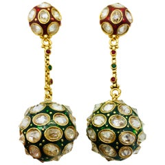 MEGHNA JEWELS Enamel Crystal Sphere Earrings