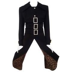 Dolce & Gabbana Black Wool 2001 Runway Collection Crystal Adorned Coat