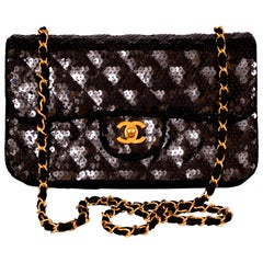 Chanel Sparkling Black Sequin Quilted Bag with Chain Strap