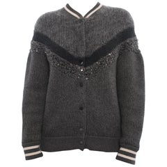 Brunello Cucinelli Grey Chunky Knit Mohair / Wool Collegiate Sweater - M