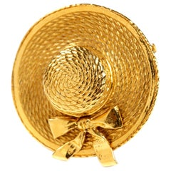 Chanel Vintage Gold Hat Brooch Pin